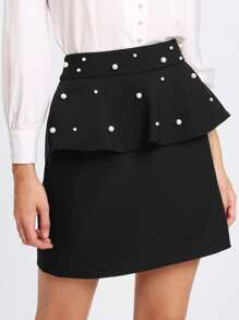 Pearl Beaded Flounce Skirt