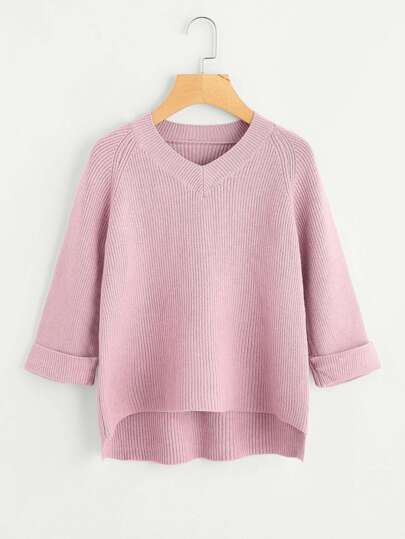 V Neckline Dip Hem Cuffed Knit Sweater