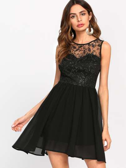 Sequin Mesh Overlay Front Fitted & Flared Dress
