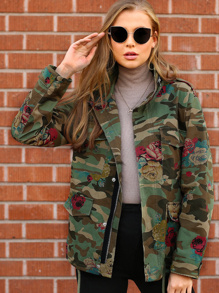 Floral And Camo Print Utility Jacket