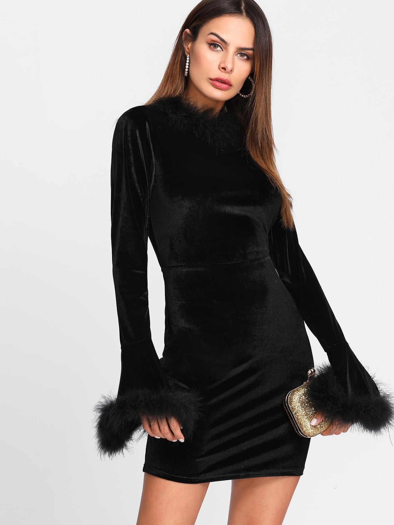 Contrast Faux Fur Bell Cuff And Neck Velvet Dress christmas faux fur fitted velvet short party dress with hat