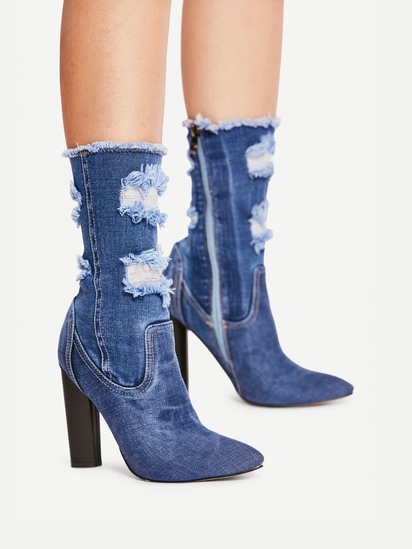 Distressed Top Denim Ankle Boots -SheIn(Sheinside)