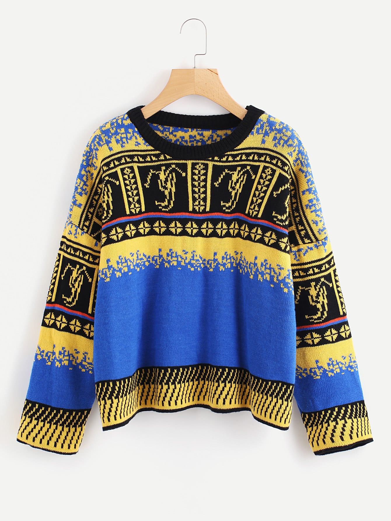 купить Geo Pattern Drop Shoulder Sweater дешево