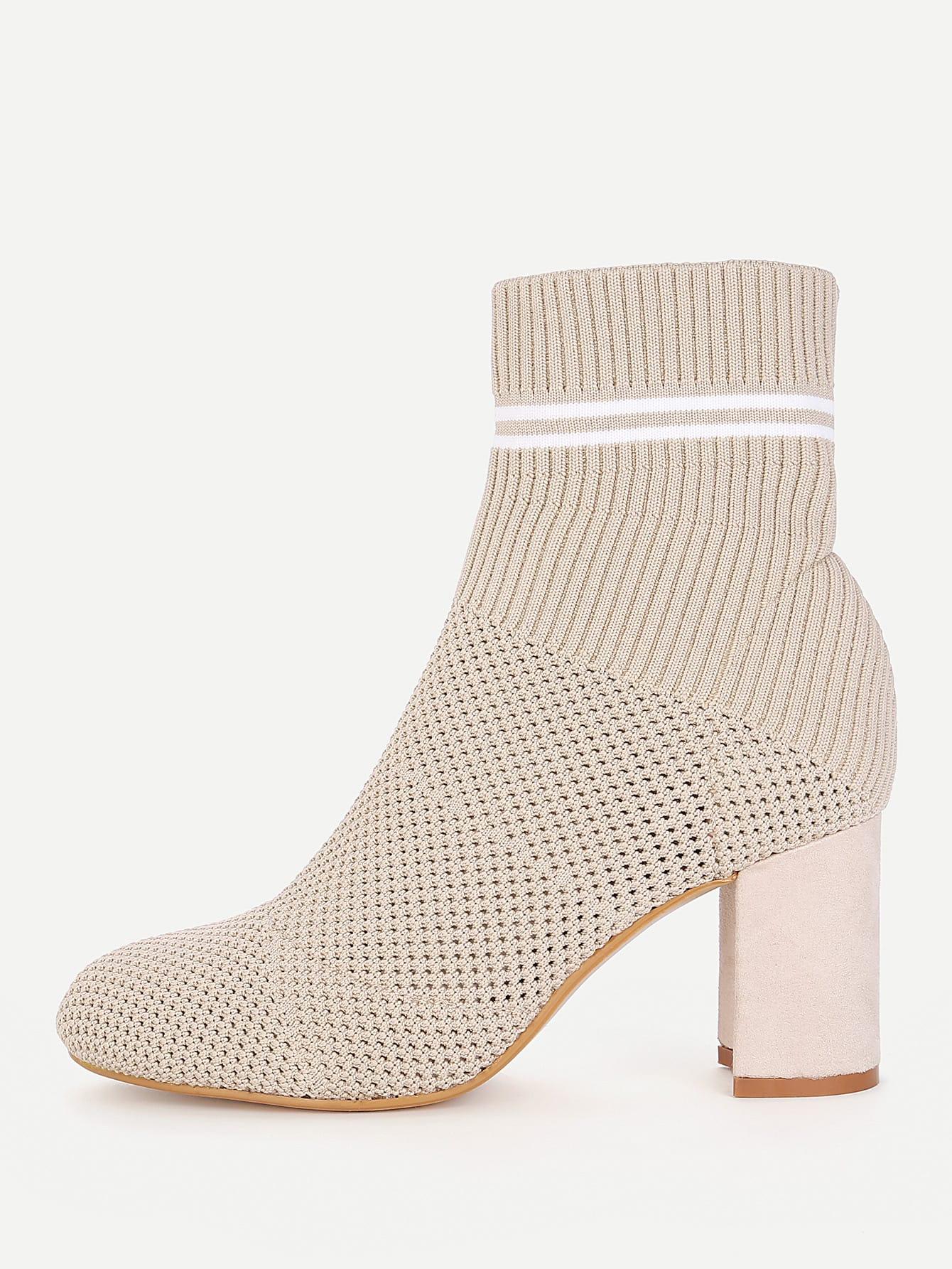 все цены на Striped Detail Block Heeled Ankle Boots