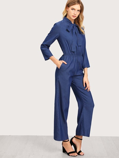 Tie Neck Elastic Waist Chambray Wide Leg Jumpsuit