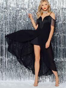 Fringe Sweetheart Overlap Cami Dress