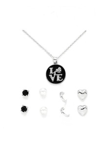 Round Pendant Necklace & Heart Earring Set
