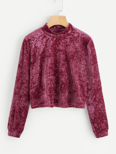 Velvet High Neck Crop Tee