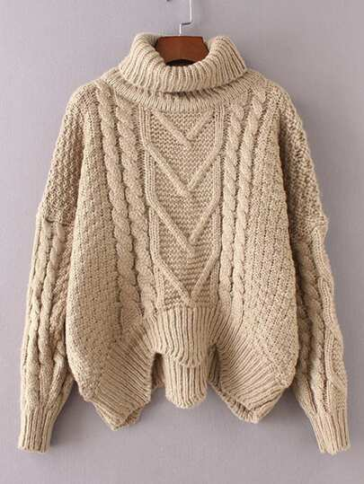 Cable Knit Turtleneck Asymmetrical Sweater