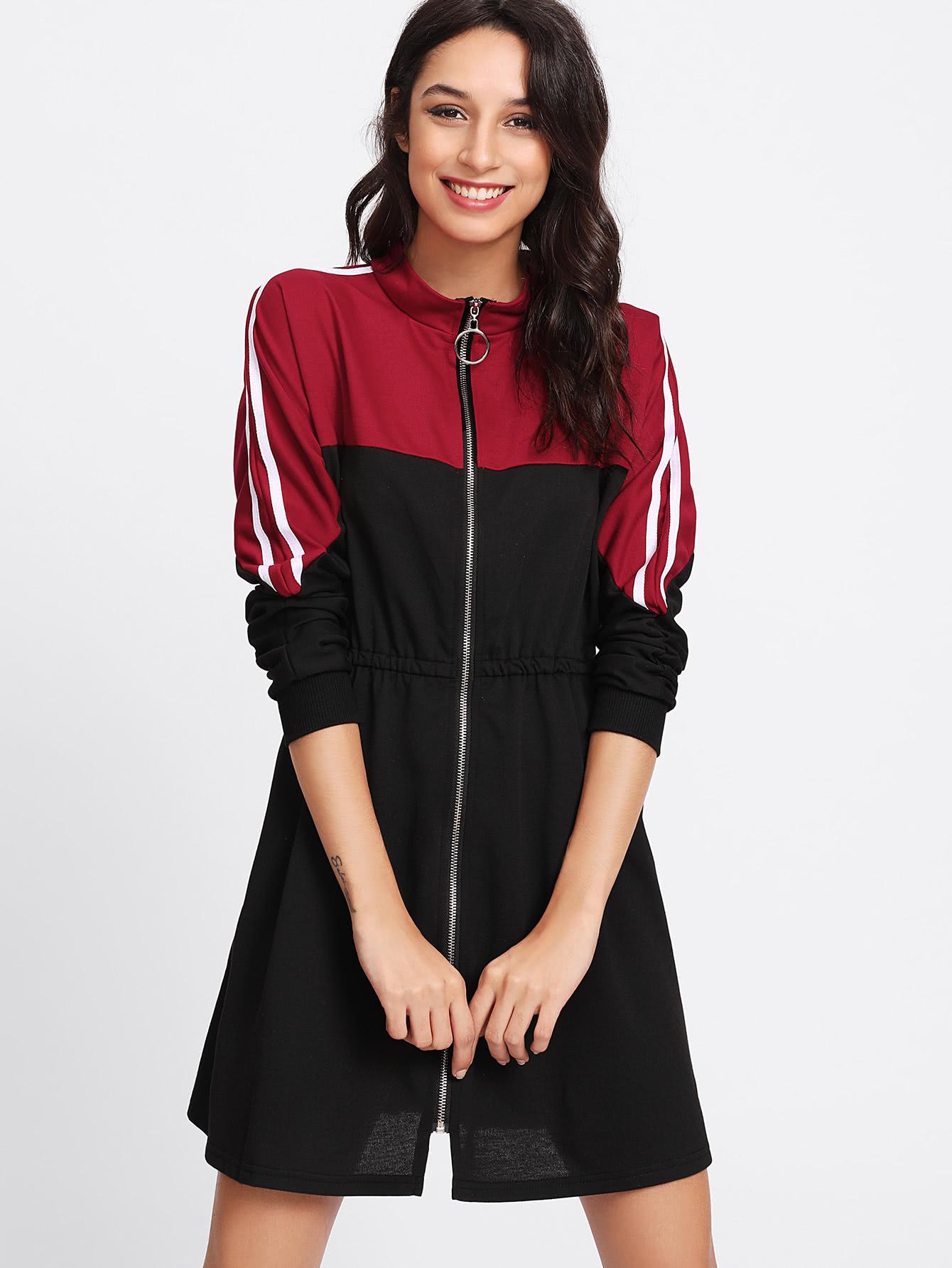 Stripe Contrast Sleeve Zip Front Dress zip front tank dress