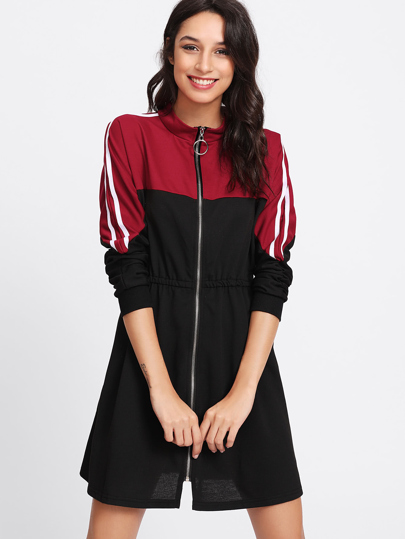 Stripe Contrast Sleeve Zip Front Dress
