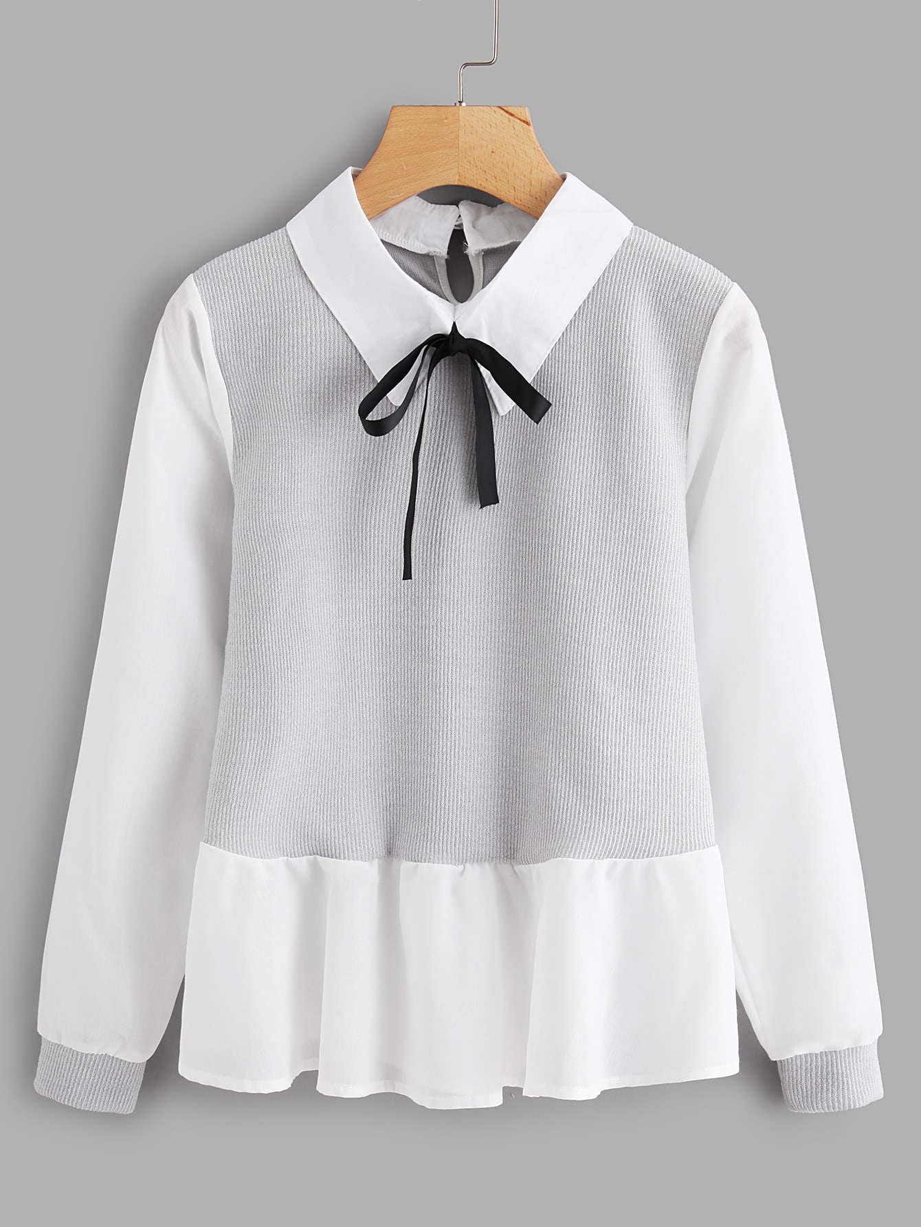 Ruffle Contrast Bow Tie Neck Blouse contrast embroidered mesh yoke bow tie striped blouse