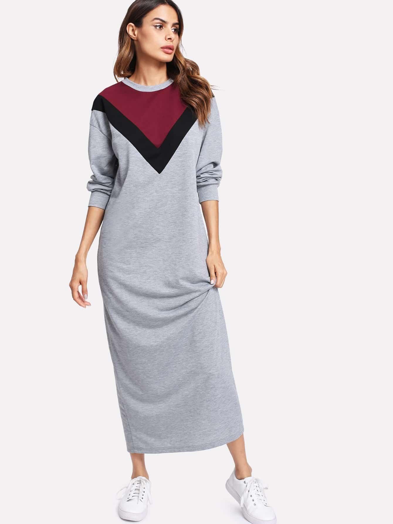 Contrast Chevron Panel Marled Sweatshirt Dress drop shoulder marled sweatshirt dress with corset belt