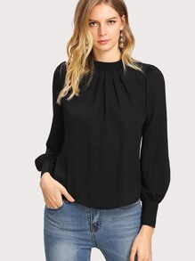 Button Cuff Gathered Neck Top