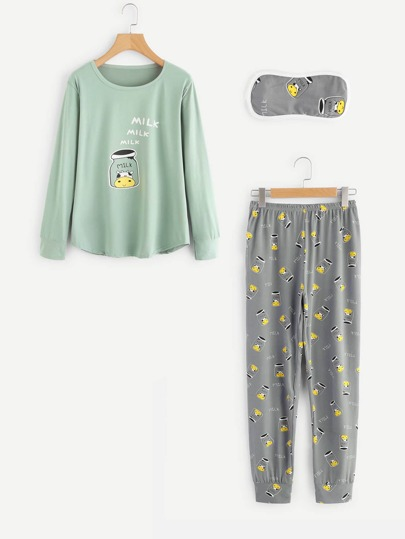 Cow Print Pullover Long Pajama Set With Eyeshade