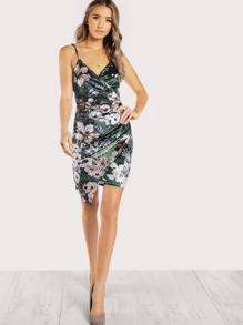 Ruched Overlap Floral Velvet Dress
