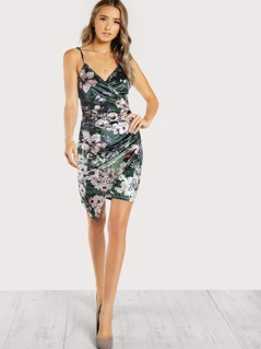 Ruched Overlap Floral Velvet Dress