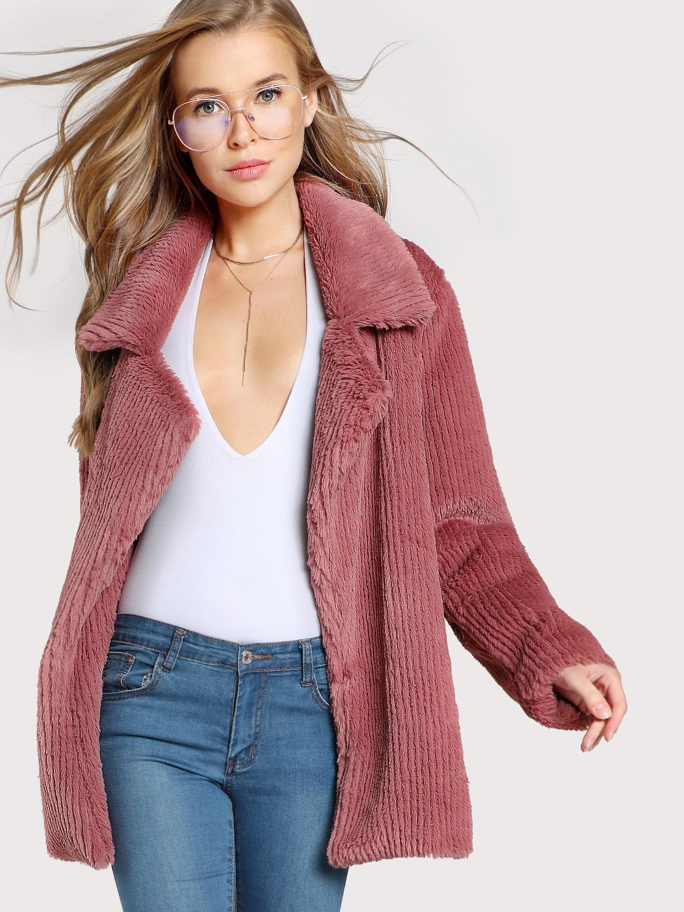 Image of Notch Collar Faux Fur Coat