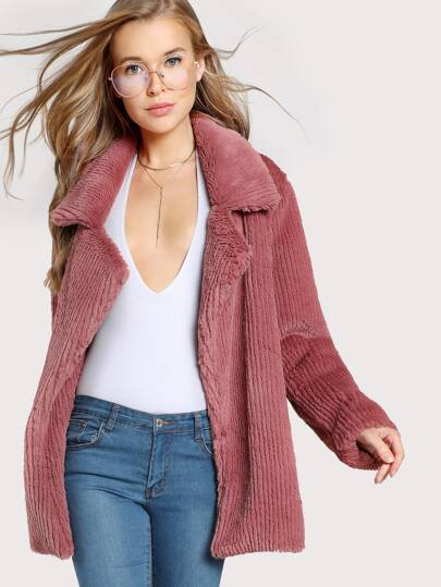 Notch Collar Faux Fur Coat