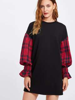 Tee Dress With Plaid Bell Sleeve