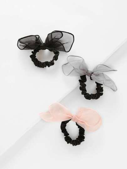 Bow Tie Hair Ties 3pcs