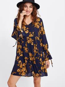 Flower Print Ruffle Cuff Dress