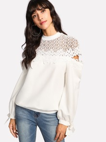 Lace Crochet Contrast Bow Detail Sweatshirt