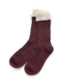 Contrast Lace Trim Calf Length Socks