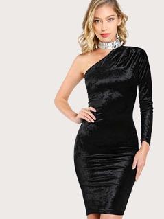 Velvet Single Shoulder Diamond Choker Dress BLACK