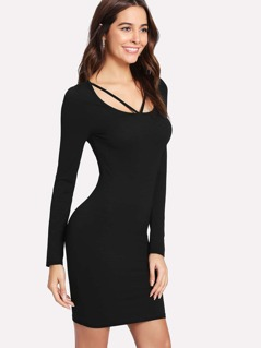 V Strap Scoop Neck Solid Dress