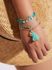 Tassel & Shell Detail Bracelet Set With Jewelry