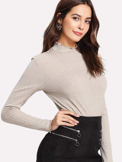 Frilled Neck Ribbed Knit Tee