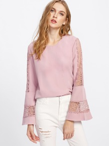 Bell Sleeve Lace Cut Out Blouse