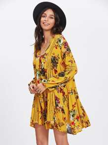 Floral Print Hollow Panel Dress