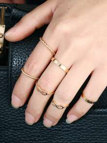 Plaited & Infinity Ring 6pcs