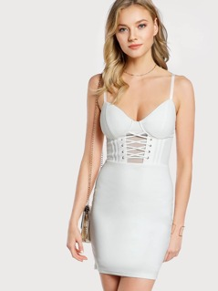 Lace Up Solid Bodycon Dress WHITE
