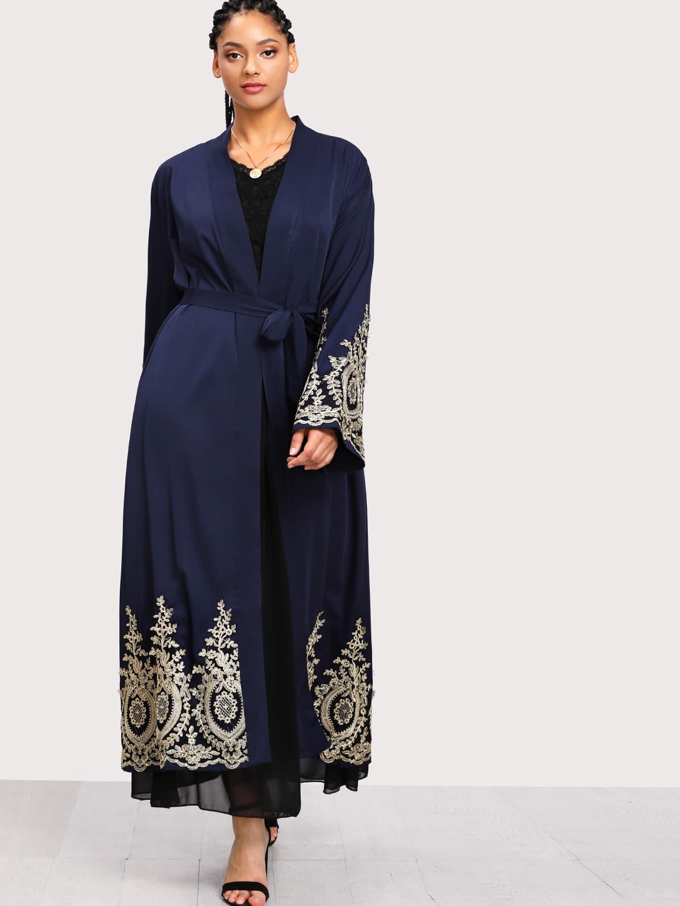 Plus Lace Crochet Contrast Tie Waist Coat