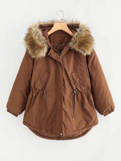 Faux Fur Lined Parka Jacket