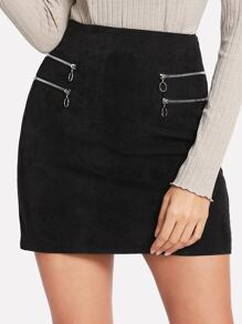 Ring Zipper Detail Cord Skirt