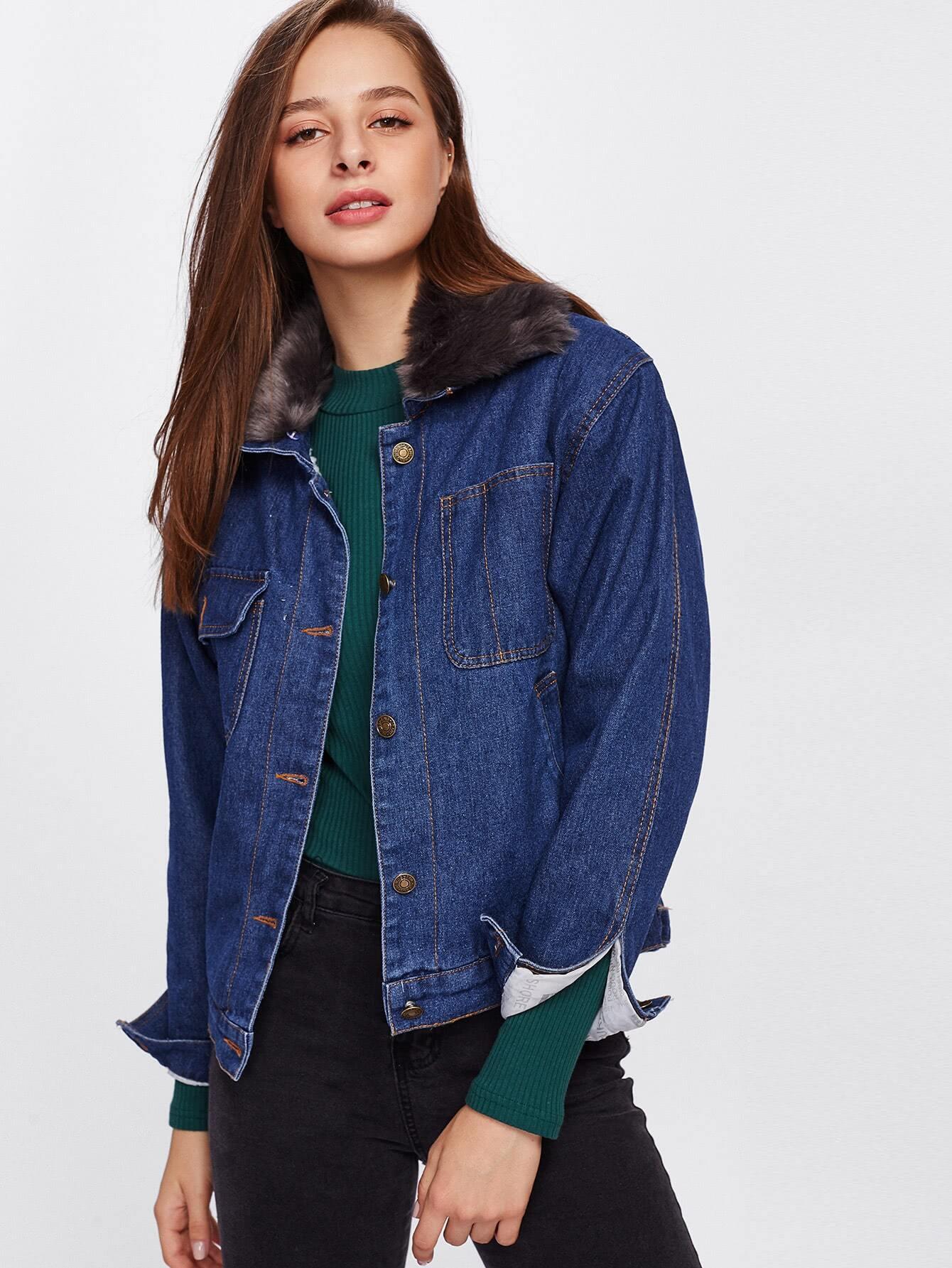 veste en jeans bicolore avec fourrure fausse french shein. Black Bedroom Furniture Sets. Home Design Ideas
