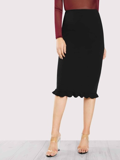 Split Ruffle Hem Pencil Skirt
