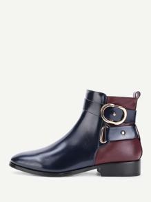Side Zipper Color Block Ankle Boots