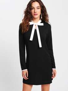 Contrast Bow Tie Neck Dress
