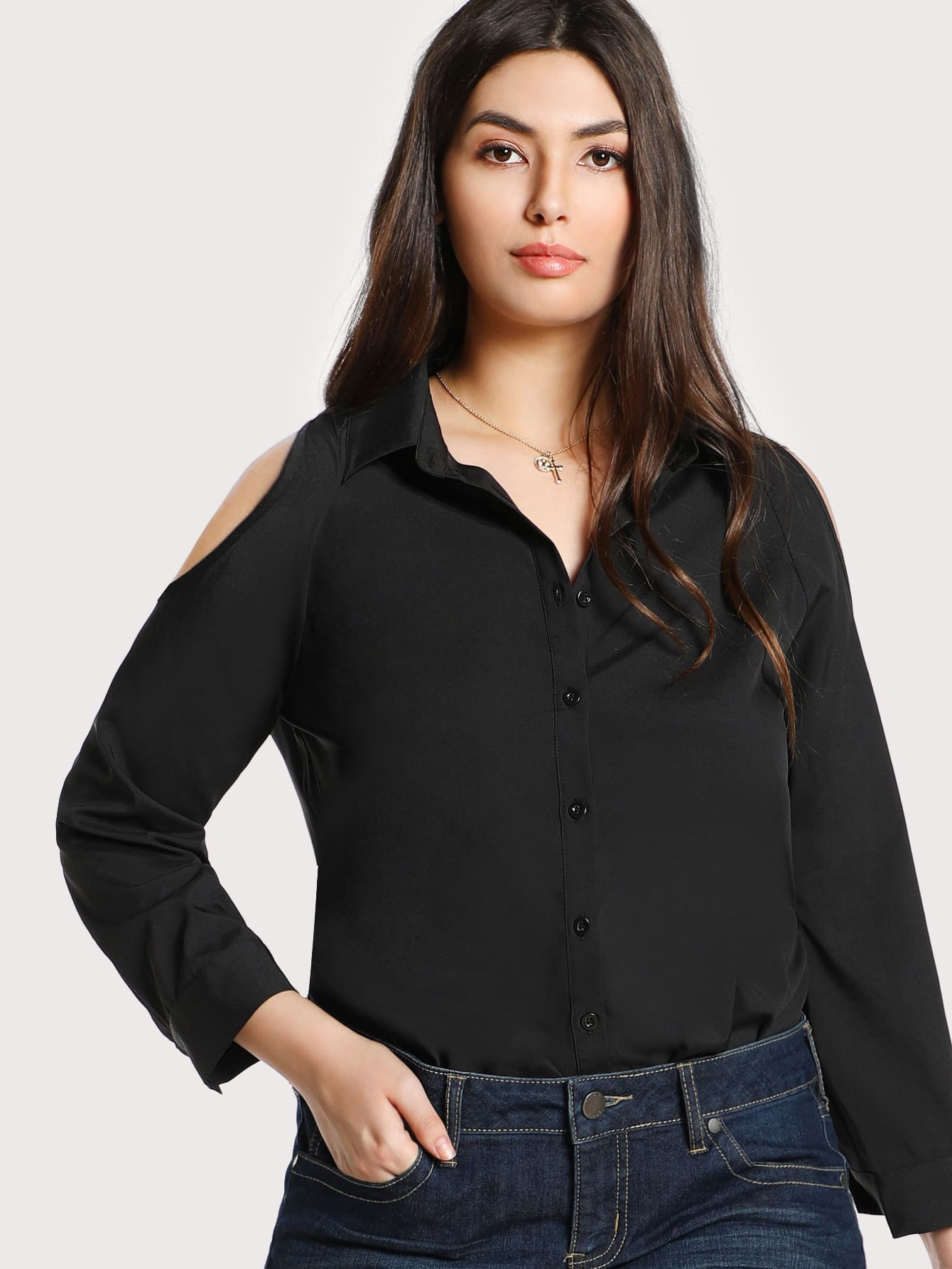 Cutout Shoulder Solid Shirt