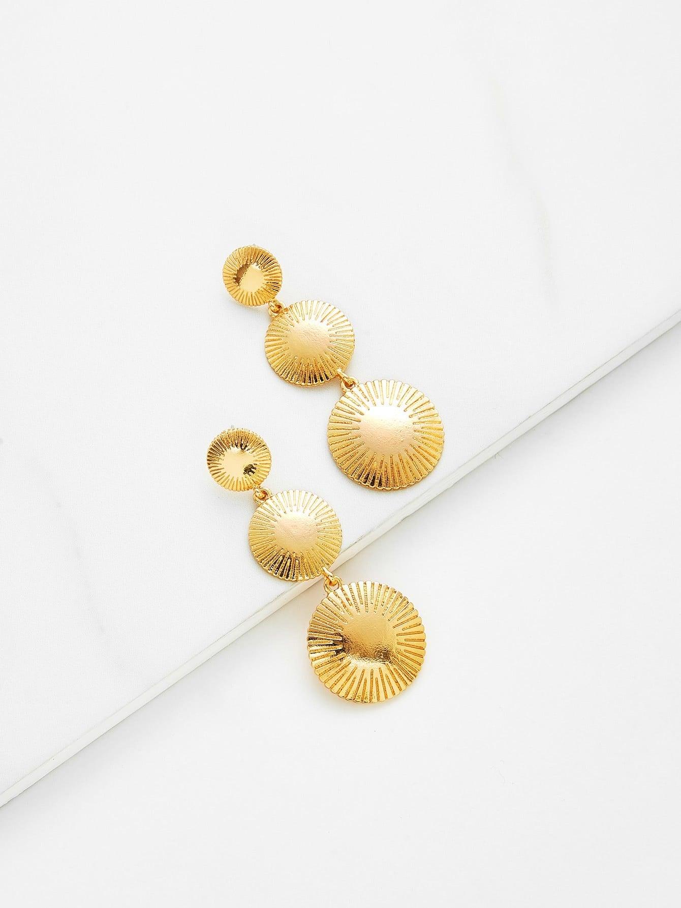 Round Flake Drop Earrings two tone round flake drop earrings