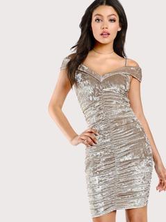 Cold Shoulder Ruched Dress CHAMPAGNE