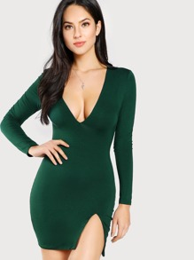 Slit Front Form Fit Dress