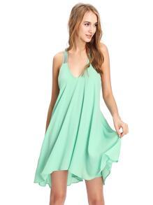 Fruit-green Sleeveless Backless Romantic Loved Lolita Pleated Dress
