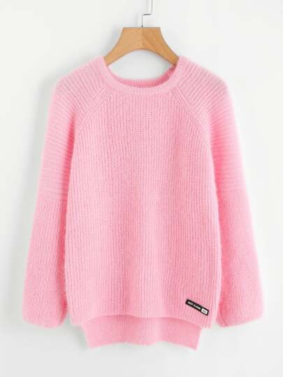 Dip Hem Patch Detail Sweater