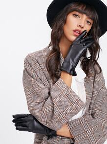 Faux Leather Slit Detail Gloves